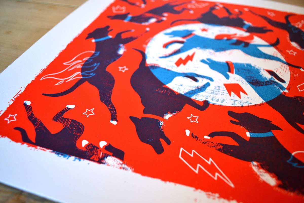 Silk-screen print for 'La Roda & friends' exhibition